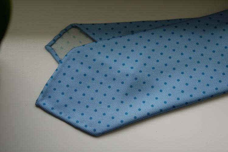 Pindot Printed Silk Tie - Untipped - Light Blue/Navy Blue