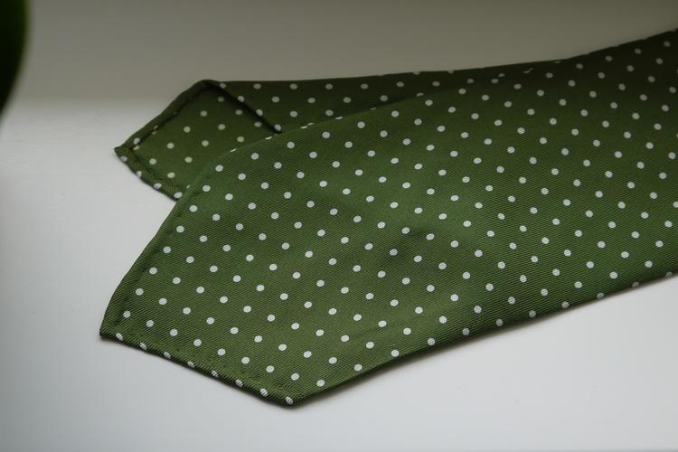 Pindot Printed Silk Tie - Untipped - Light Green/White
