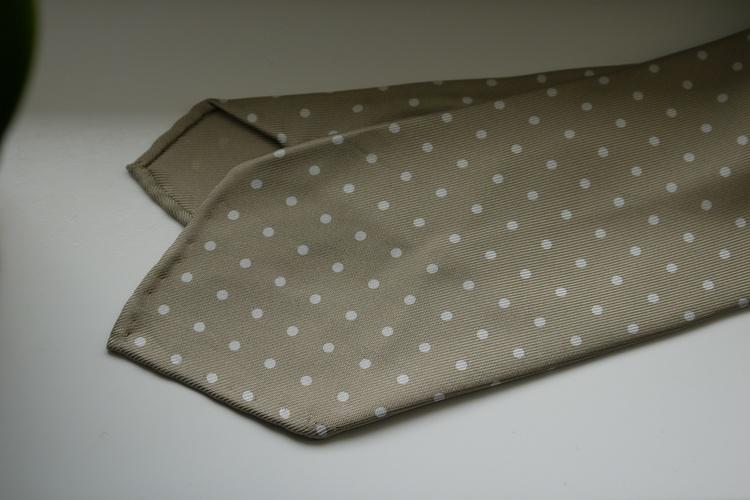 Polka Dot Printed Silk Tie - Untipped - Beige/White