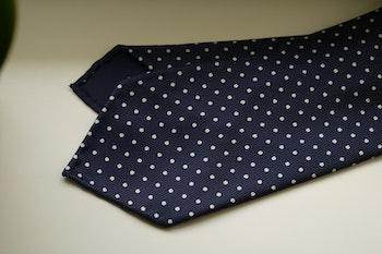 Pindot Printed Silk Tie - Untipped - Navy Blue/White