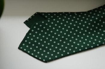 Small Floral Printed Silk Tie - Untipped - Green/White