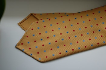 Small Floral Printed Silk Tie - Untipped - Yellow/Light Blue/Red