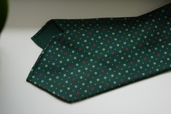 Small Floral Printed Silk Tie - Untipped - Green/Yellow/Light Blue/Red
