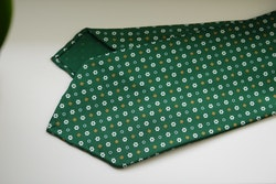 Small Floral Printed Silk Tie - Untipped - Green/White/Mustard