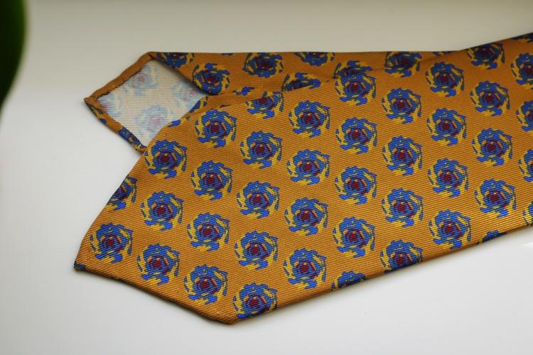 Storm Printed Silk Tie - Untipped - Yellow/Light Blue/Burgundy