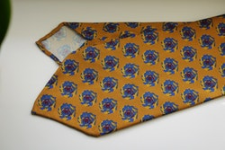 Storm Printed Silk Tie - Untipped - Yellow/Light Blue/Burgundy