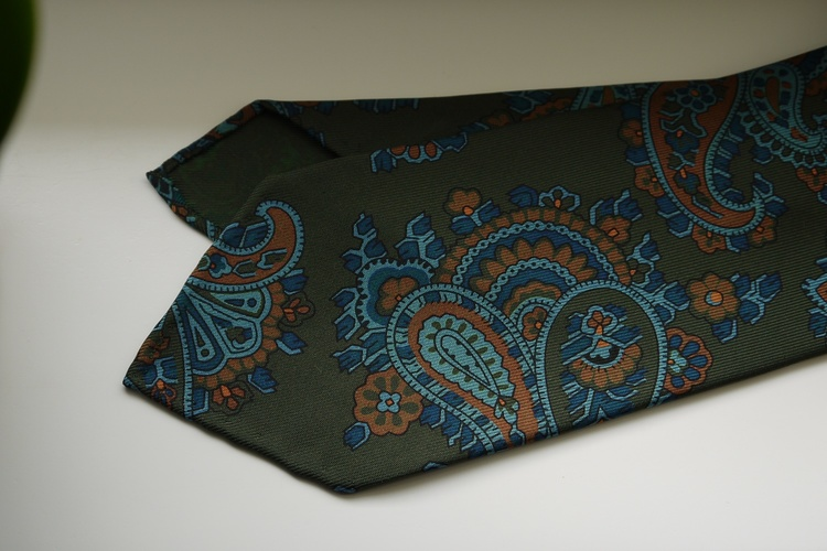 Large Paisley Ancient Madder Silk Tie - Untipped - Olive Green/Navy Blue/Orange