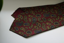 Paisley Ancient Madder Silk Tie - Untipped - Burgundy/Green/Mustard/Navy Blue