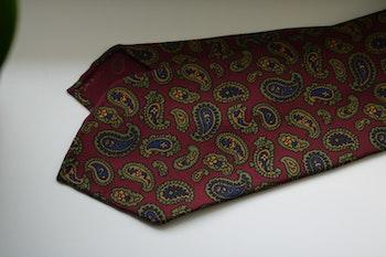 Paisley Ancient Madder Silk Tie - Untipped - Burgundy/Green/Mustard/Navy Blue