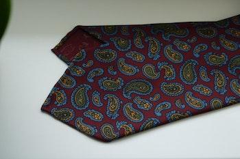 Paisley Ancient Madder Silk Tie - Untipped - Burgundy/Light Blue/Green/Mustard