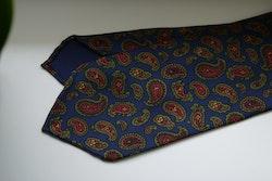 Paisley Ancient Madder Silk Tie - Untipped - Navy Blue/Green/Burgundy/Rust