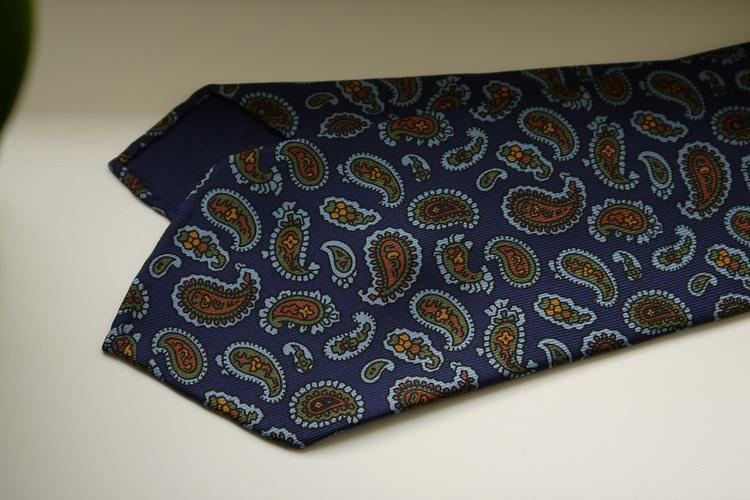 Paisley Ancient Madder Silk Tie - Untipped - Navy Blue/Light Blue/Green/Mustard
