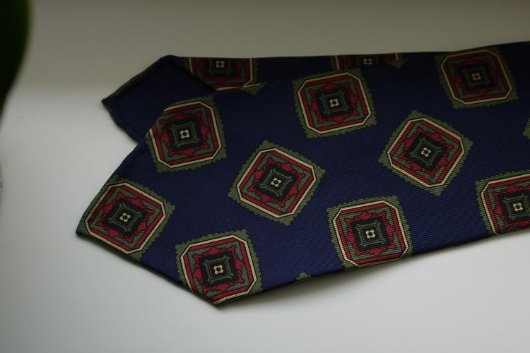 Medallion Ancient Madder Silk Tie - Untipped - Navy Blue/Green/Burgundy/Beige