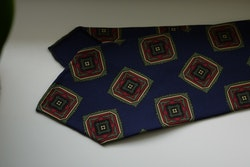 Medallion Ancient Madder Silk Tie - Untipped - Navy Blue/Green/Burgundy/Beige