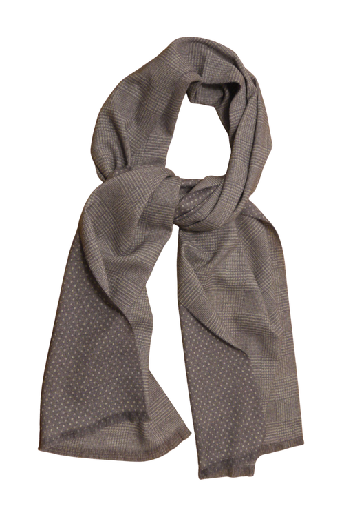 Plaid/Pindot Printed Wool Scarf - Beige/White