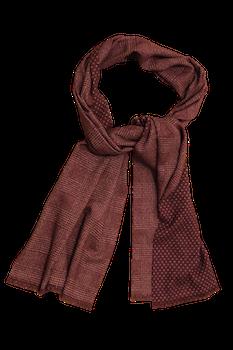 Plaid/Pindot Printed Wool Scarf - Burgundy/White