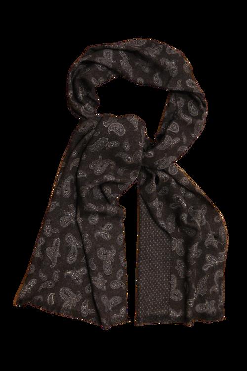 Paisley/Pindot Printed Wool Scarf - Brown