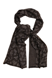 Paisley/Pindot Printed Wool Scarf - Brown