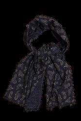 Paisley/Pindot Printed Wool Scarf - Navy Blue