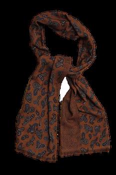 Paisley/Pindot Printed Wool Scarf - Rust