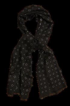 Medallion Printed Wool Scarf - Brown/Navy Blue