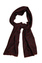 Medallion Printed Wool Scarf - Burgundy/Navy Blue/Light Blue