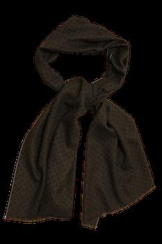 Pindot Printed Wool Scarf - Brown/Navy Blue
