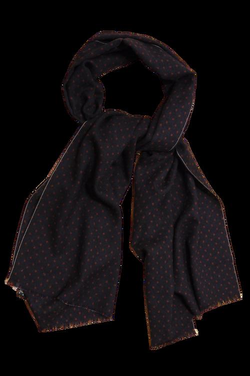 Pindot Printed Wool Scarf - Navy Blue/Burgundy