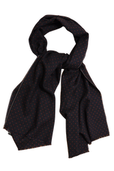 Pindot Printed Wool Scarf - Navy Blue/Burgundy