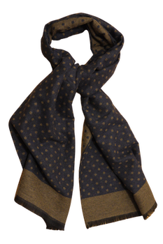 Polka Dot Wool/Silk Scarf - Navy Blue/Beige