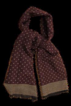 Polka Dot Wool/Silk Scarf - Burgundy/Beige