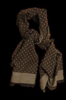 Polka Dot Wool/Silk Scarf - Brown/Beige