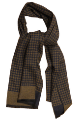 Dogtooth Wool/Silk Scarf - Navy Blue/Beige