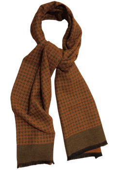 Dogtooth Wool/Silk Scarf - Orange/Beige
