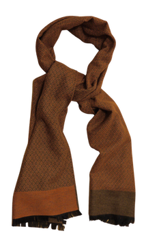 Diamond Wool/Silk Scarf - Orange/Beige