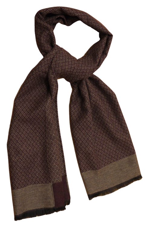 Diamond Wool/Silk Scarf - Burgundy/Beige