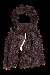 Paisley Printed Wool Scarf - Burgundy