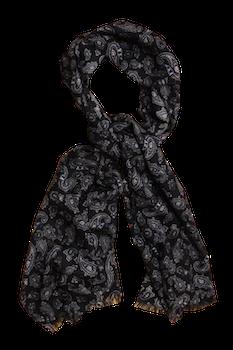 Paisley Printed Wool Scarf - Navy Blue