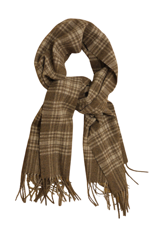 Plaid Wool Scarf - Beige