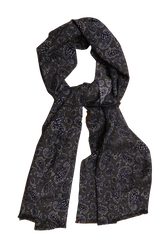 Paisley Printed Wool Scarf - Grey