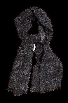 Paisley Printed Wool Scarf - Grey