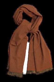 Thin Herringbone Cashmere Scarf - Orange
