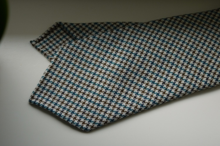 Dogtooth Light Wool Tie - Untipped - Off White/Brown/Turquoise