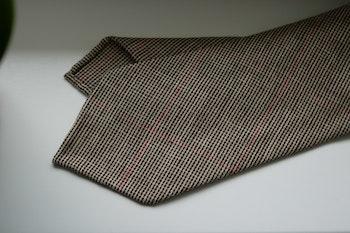 Glencheck Light Wool Tie - Untipped - Beige/Brown/Red