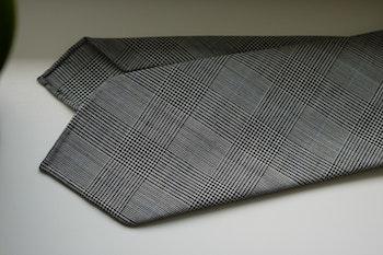 Glencheck Light Wool Tie - Untipped - Grey/Light Blue