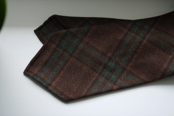 Glencheck Light Wool Tie - Untipped - Brown/Rust/Green