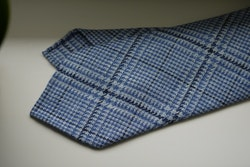 Glencheck Wool Tie - Untipped - Light Blue/White/Navy Blue