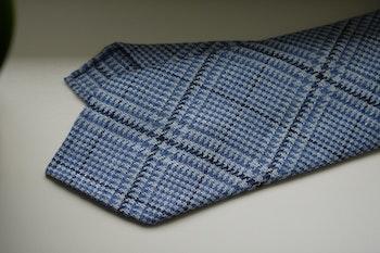 Glencheck Wool Tie - Untipped - Light Blue/White/Navy Blue