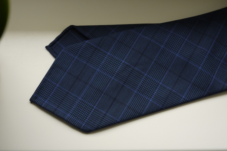 Glencheck Light Wool Tie - Untipped - Navy Blue/Light Blue