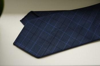 Glencheck Light Wool Tie - Untipped - Navy Blue/Light Blue